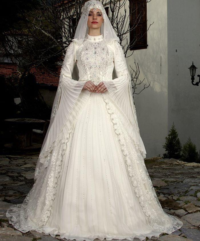 Long Muslim Wedding Dress Flare sleeve Arabric Wedding Gowns ...