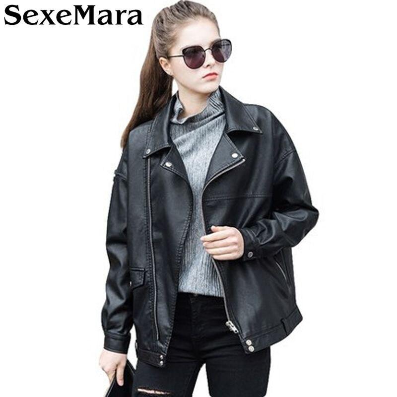 Sexemara estilo suelto oversize mujeres chaqueta de cuero