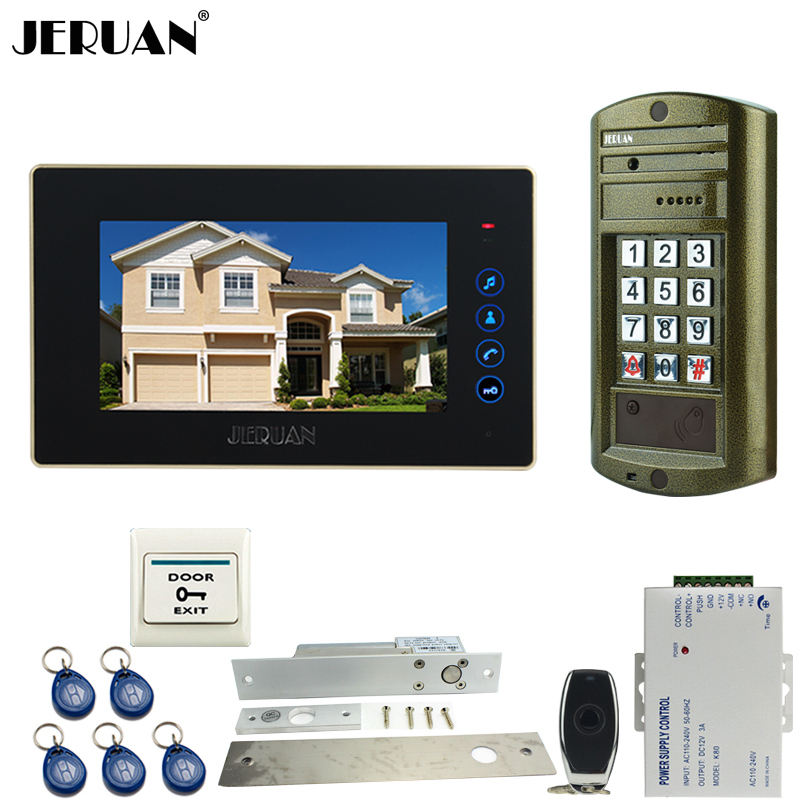 JERUAN 7 Inch Video Door Phone Intercom System kit Metal panel Waterproof Password Keypad HD Mini Camera+Electric Drop Bolt Lock jeruan 8 inch video door phone high definition mini camera metal panel with video recording and photo storage function