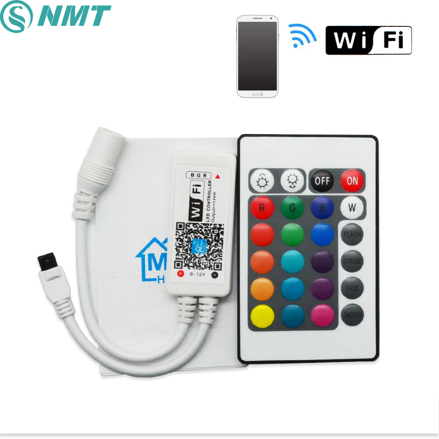 DC12V RGB RGBW Wifi LED Controller android /IOS Mini + IR 24Key Remote control for SMD 5050 LED Strip Light Via Smartphone led wifi controller 4 0 bluetooth control 5050 rgbw rgb led strip tape 24 keys remote ios android phone light controler dc12v