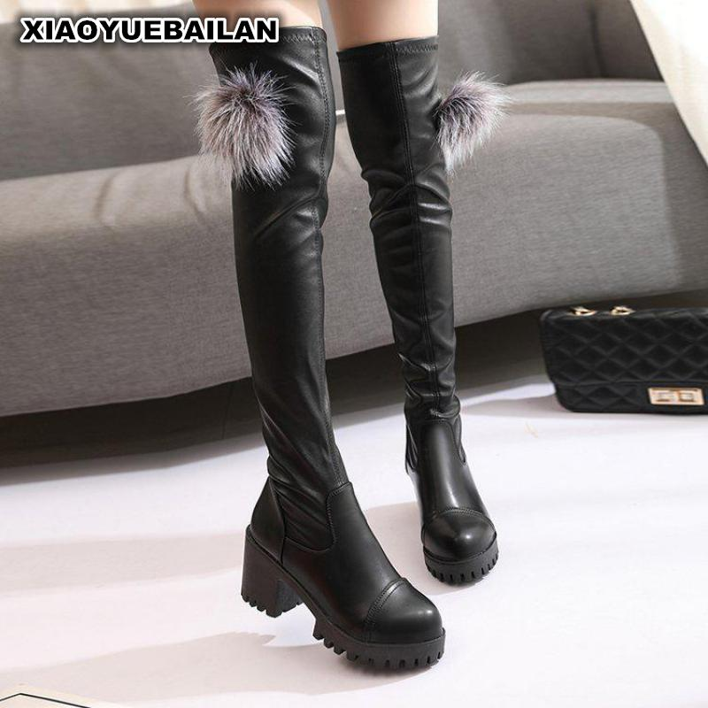 The 2017 Winter Warm Lady Thigh Boots Female High-heeled Boots With Thick Fur Ball Female Round Shoes women winter coat leisure big yards hooded fur collar jacket thick warm cotton parkas new style female students overcoat ok238