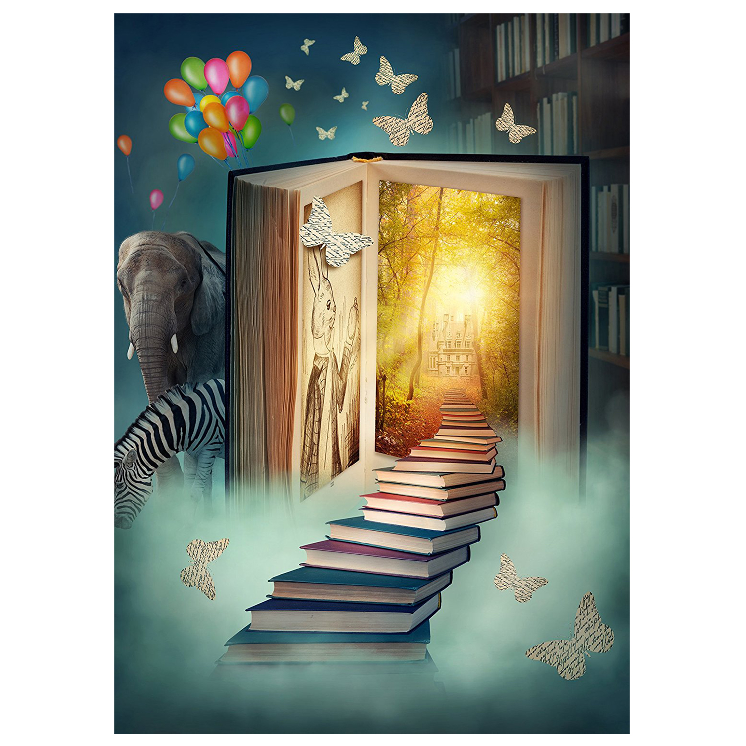 Fairy Tale Background for Photo 3x5ft Children Theme Book World Elephant zebra Photography Backdrop Studio Props Wall photo background 5x7ft fairy tale mushroom house photography backdrop studio props for children