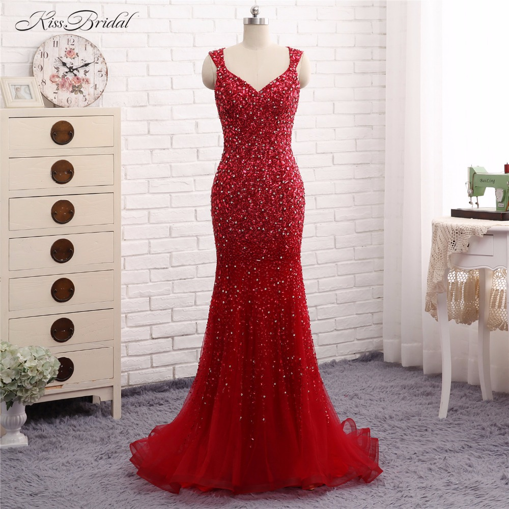 Red   Evening     Dresses   Long Robe de Soiree 2017 Mermaid Crystal Beaded Formal Party Prom Gown Abendkleider Vestido de Festa