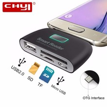 CHYI 4 in 1 OTG to USB 2.0 Smart Card Reader SD TF CardReader USB2.0 Card Adapter with Micro USB Port For Android SmartPhone