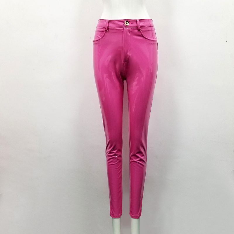 High Quality Celebrity Pink Brown Red Black Leather Stretch Pants Sexy Fashion Boycon Pant