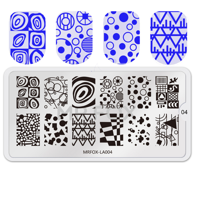 WAKEFULNESS 1PC 6.5*12.5CM Lattice Geometry Nail Stamping Template ...