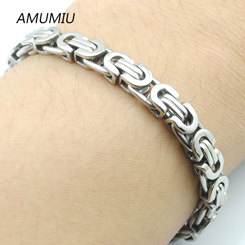 AMUMIU Men's 316L Stainless Steel Bracelet Wristband Hand Chain For Men Jewelry Fashion Byzantine Biker Bicycle Bangle HZB004