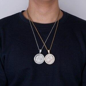 Image 4 - TOPGRILLZ QC Spinner mektup kolye kolye buzlu Out Hip Hop/Punk altın gümüş renk zincirleri CZ uğurlu takı hediye