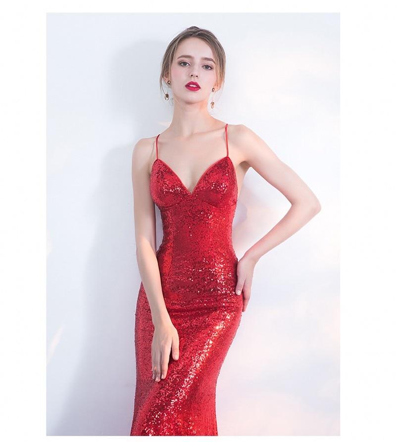 NOVO Designer Red Sequin Formal Prom Party haljina Spaghetti remen - Haljina za posebne prigode - Foto 5