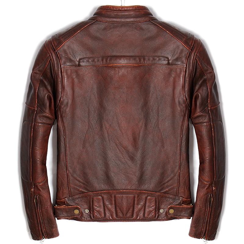 هارلي دامسون خمر البني الروسية الرجال حقيقية السائق سترة جلدية زائد حجم 5XL سميكة جلد البقر يتأهل ركوب معطف جلد-في معاطف جلد طبيعي من ملابس الرجال على  مجموعة 3