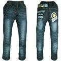 Los niños de Color Azul Oscuro Pantalones Vaqueros Calientes de Invierno Niños ropa de abrigo niños Impresos Pantalones de Mezclilla Adolescentes Pantalones de polar-interior de Año nuevo MH0316