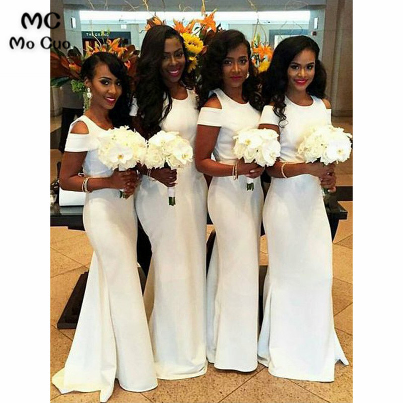 In Stock African 2019 Junior   Bridesmaid     Dresses   Long Cap Sleeves Wedding Party   Dress   Short Sleeve Mermaid   bridesmaid     dress