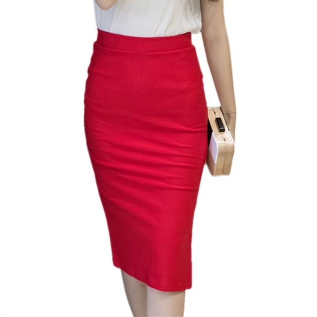 Womens Red Skirts 2018 Spring Elastic Elegant Sexy High Waist Skirt Black  Office Lady Formal Long Pencil Skirts Plus Size S-5XL 604120ff9fbb