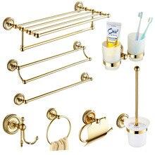 Европейский античный золотой набор аксессуаров для ванной комнаты, твердая латунная фурнитура, круглое основание, полированные наборы для ванной комнаты