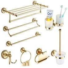 Europe Antique Gold Bathroom Accessories Set Solid Brass Hardware Round Base Polished Bathroom Sets