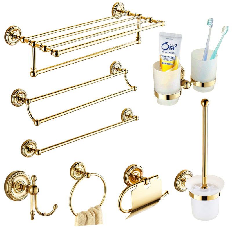 Europe Antique Gold Bathroom Accessories Set Solid Brass Hardware Round Base Polished Bathroom Sets