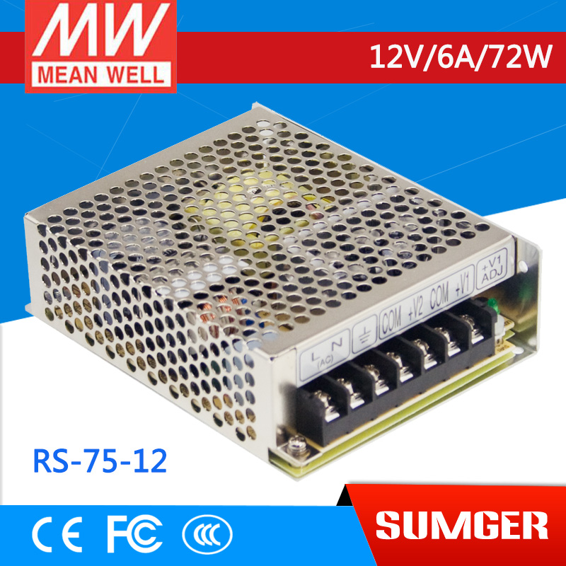 ФОТО [Freeshiping 2Pcs] MEAN WELL original RS-75-12 12V 6A meanwell RS-75 12V 72W Single Output Switching Power Supply