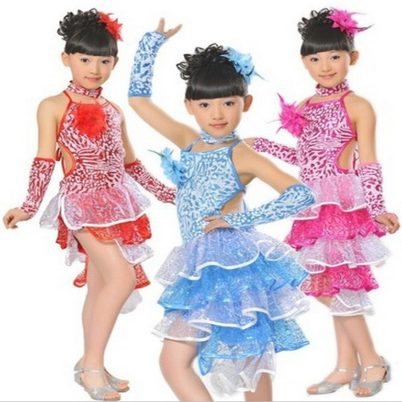 girl's Latin dance costume performance dress children's new year sequins latin performance stage dance costume JQ-218