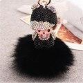 Dos desenhos animados monchichi chaveiro bonito boneca de cristal embutimento pingente strass chaveiro llaveros para a mulher bolsa charme porte clef presente