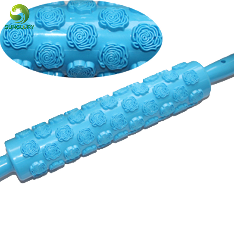 free shipping 1pc best quality 100% foodgrade plastic cake rolling pin flower decorating roller