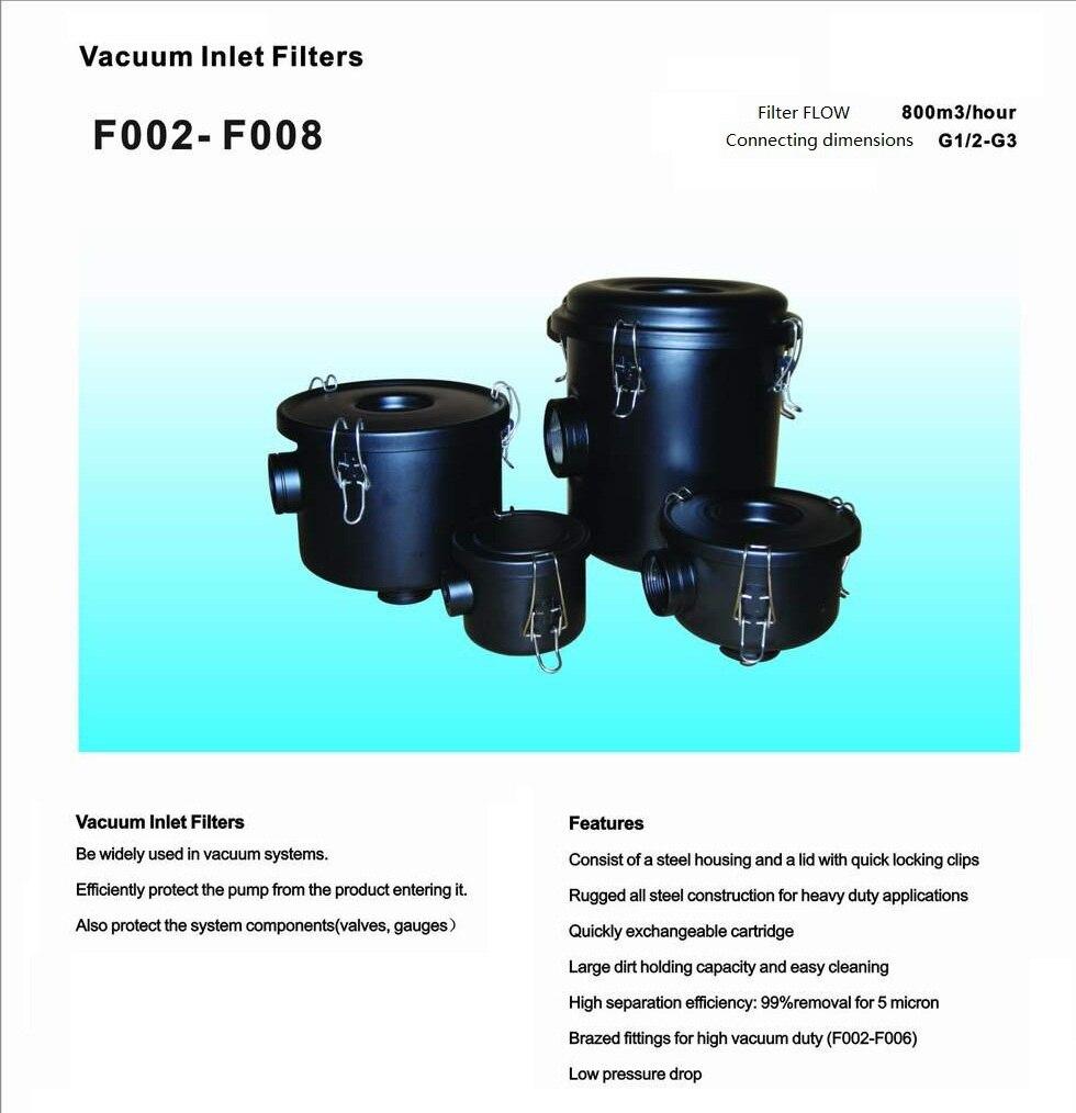 vacuum pump inlet filters F006   Rc2 industrial vacuum pump intake filter in housing 2 rc inlet
