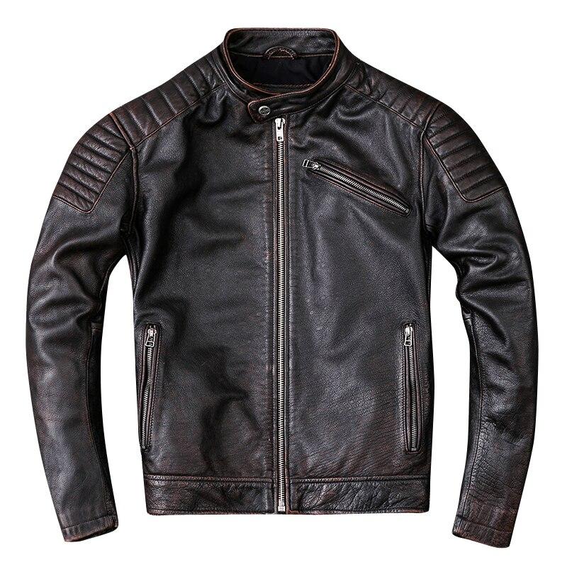 HARLEY DAMSON Retro Vintage Brown Degli Uomini Del Motociclo del Rivestimento di Cuoio Più Il Formato XXXL Genuino Della Pelle Bovina Slim Fit Biker In Pelle Cappotto