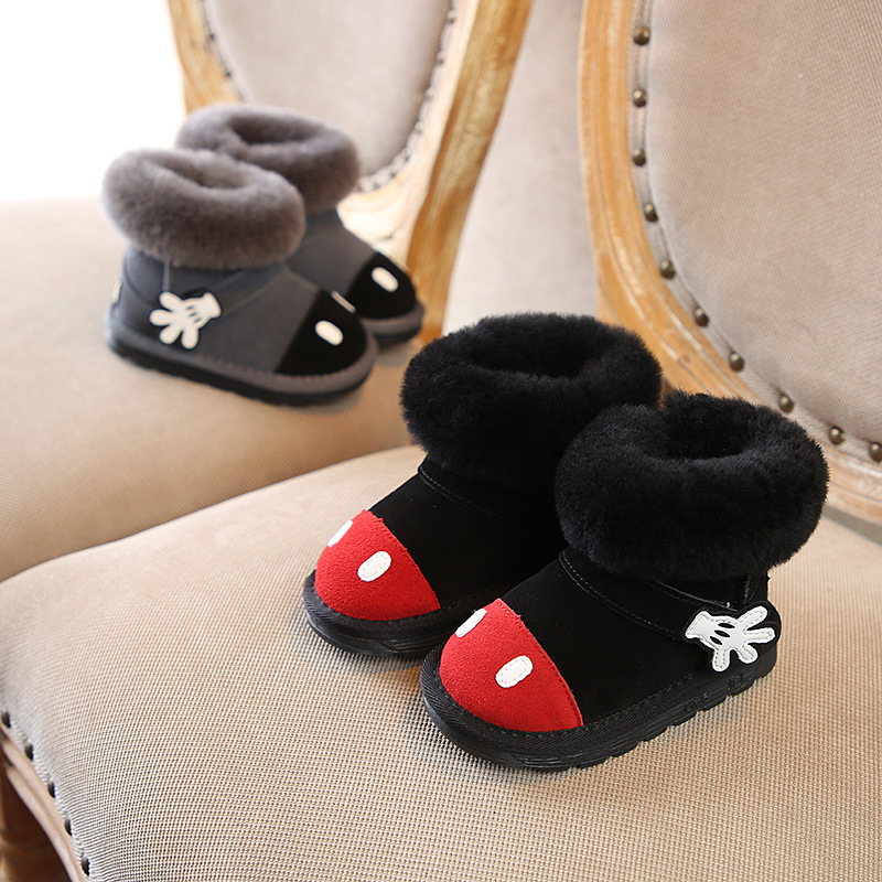 Children's boots cute cartoon snow boots fashion baby boots leather boys and girls cotton boots
