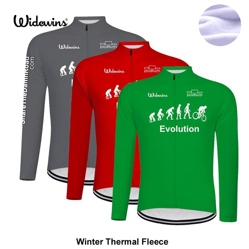 Spor ve Eğlence'ten Bisiklet Formaları'de Yeni evrim Kış Bisiklet Jersey Uzun Kollu Yarış Bisiklet Giyim Termal Polar Ropa Roupa Invierno MTB bisikletçi giysisi 8023 title=