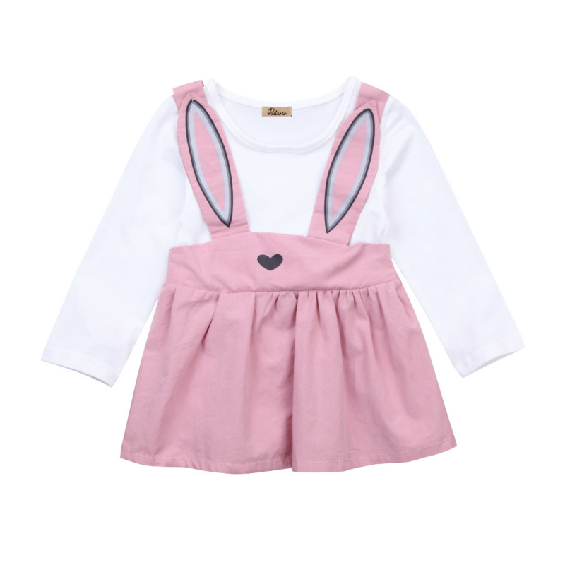 Sweet Newborn Toddler Baby Girls Kids Rabbit Print Cotton Bib Mini Tutu Dress Overall Pageant Party Dresses Sunsuit Vestidos Top