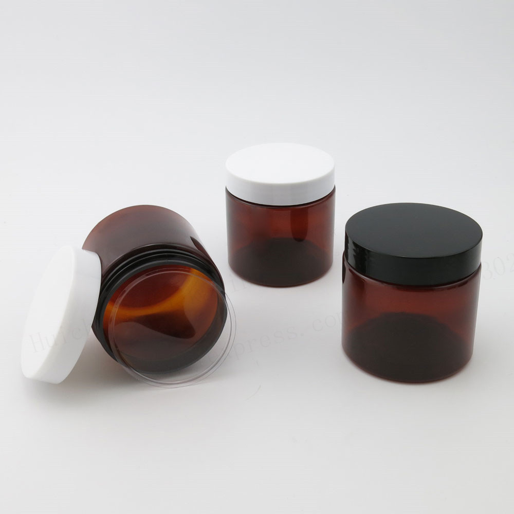 20 X 200ML Amber Empty PET Jars With Black White Plastic Screw Lids 200g Cream Make Up Bottle