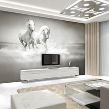 Customized  Wall Mural Wallpaper White Horse 3D Embossed