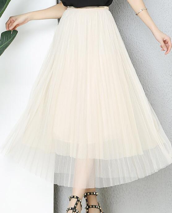 Spring New Skirt for Women Bright Pearl Gauze Elastic High Waist Skirt Tulle Skirt Free Pleated Skirt