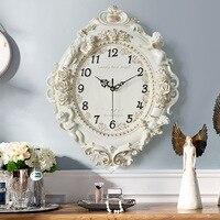 Rose Creative Decoration European Resin Wall Clock Living Room Bedroom Silent Clock Hotel Restaurant Wall Charts