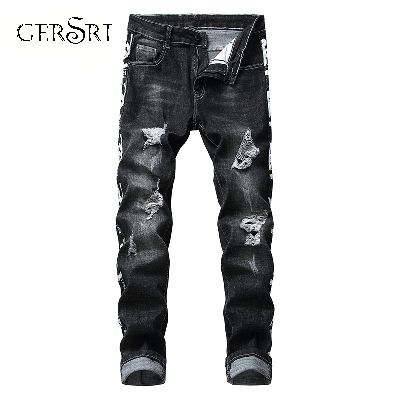 Gersri Skinny Ripped Jeans For Men Male Black Motorcycle Hole Jeans Denim Pants Fashion Brand Swag Hole Biker Jeans