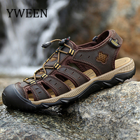 YWEEN Men Sandals Leather Summer Hollow Breathable Non slip Casual Outdoors Beach Shoes Large size EUR45 48