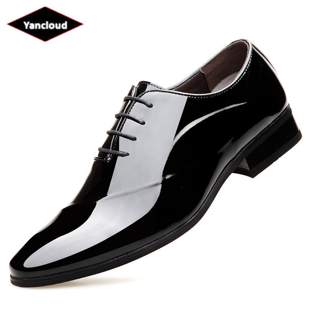 f47d00fc5 Square Head Quality Patent Leather Shoes Men Formal Dress Shoes 2019 Spring  Business Elegant Office Shoe Black Wedding Shoes