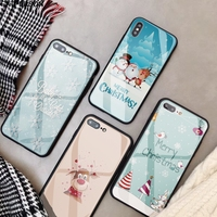 Merry Christmas Tempered Glass Phone Case for iPhone X XS MAX XR 2018 winter new year cute Phone Cover for iPhone 7 8 6 6s Plus