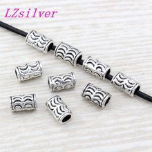 200Pcs Antique silver Zinc Alloy Crescent Tube Spacer Bead 6x10mm DIY Jewelry D15