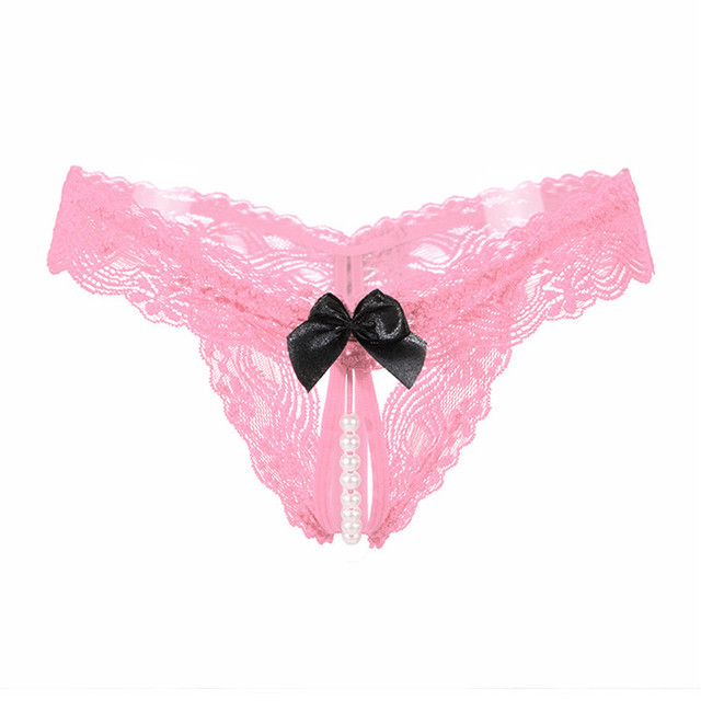 Women Thongs And G Strings With Pearls Tangas Women Sexy Panties Sexy Underwear Lace Bow Briefs Erotic Transparent Panties (Copy)