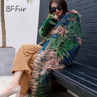 BFFUR מעיל פרווה אמיתי 100% פרוות דביבון אמיתיים, בסגנון ארוך יוקרה אופנה דביבון פרווה מעיל, חורף נשים מעיל הפרווה של הליידי FUR14