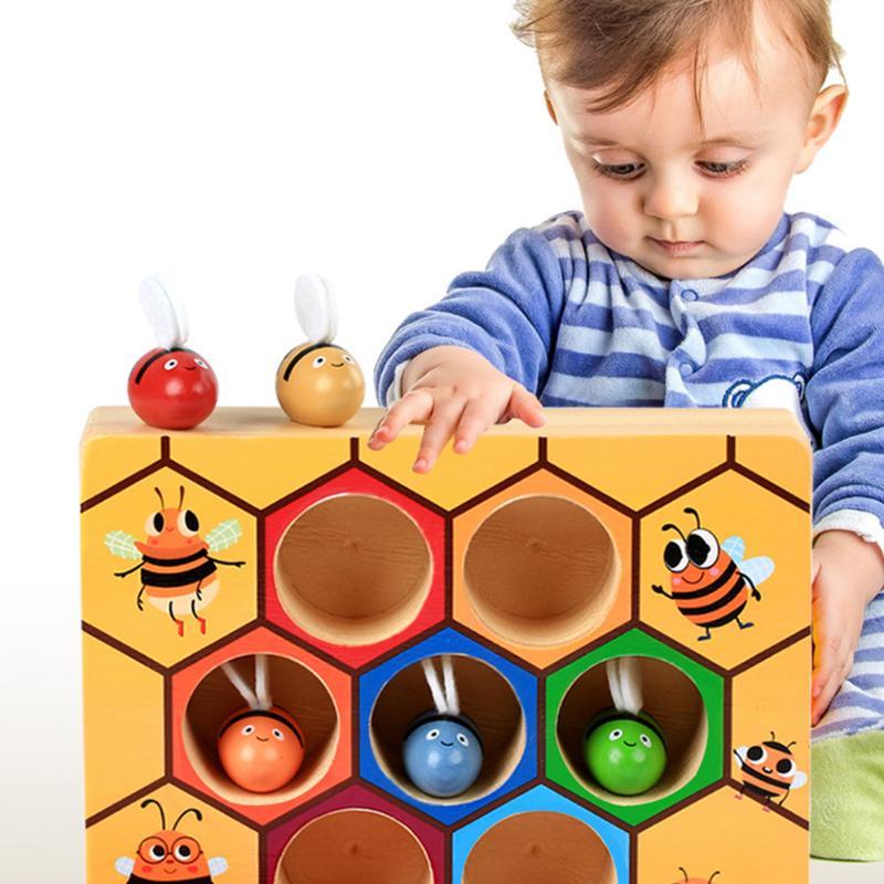 Ruche jeux de société Montessori divertissement éducation de la petite enfance éducation de la petite enfance puzzle blocs de construction jouets en bois