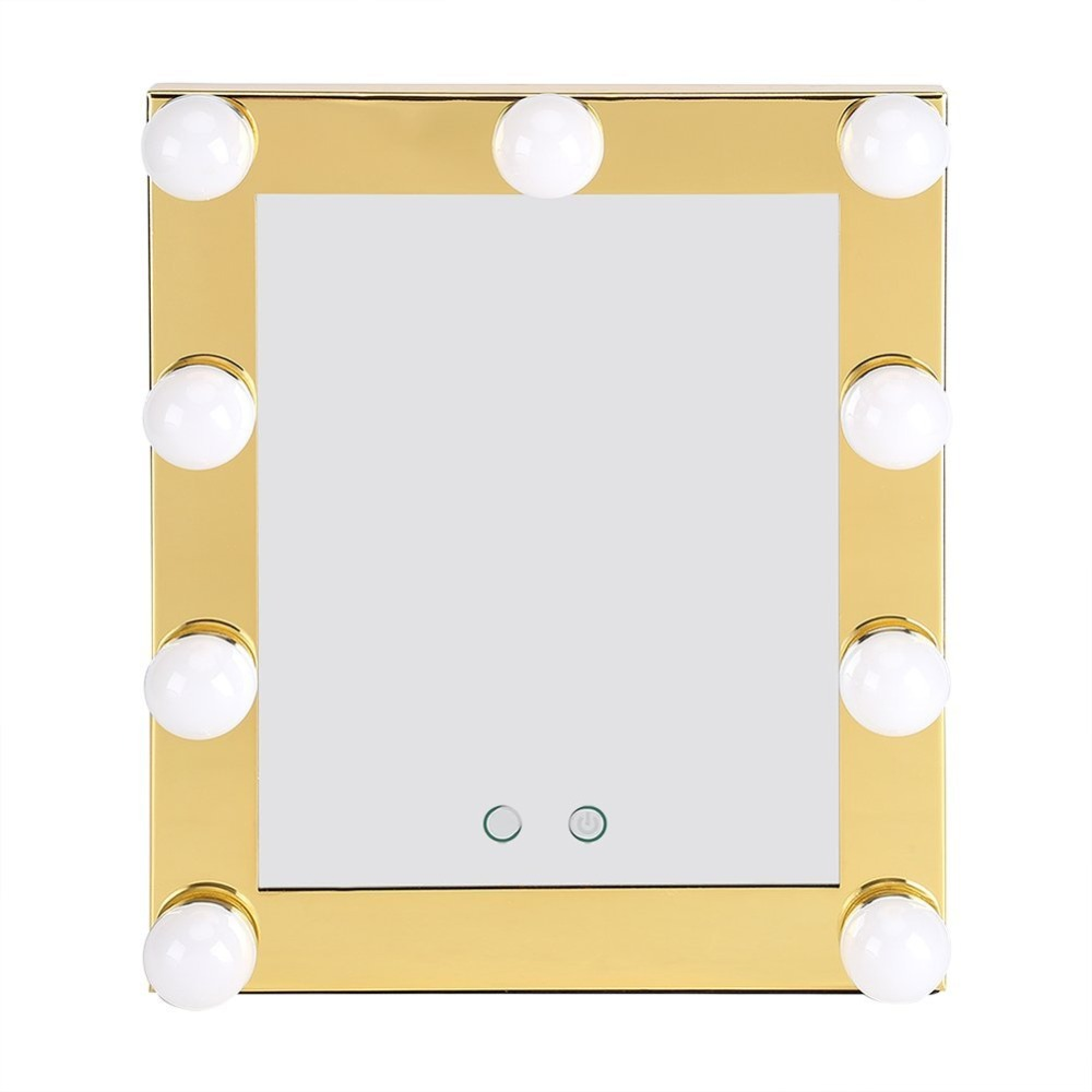 LED Bulb Makeup Mirror Vanity Lighted Makeup Mirror Desktop Cosmetic Mirror Touch Screen and 9 led bulbs(Champagne Color)