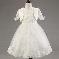 Sıcak satış moda bebek kız elbise + küçük ceket çiçek dantel tutu prenses parti elbise pembe beyaz kırmızı mor çocuk giyim