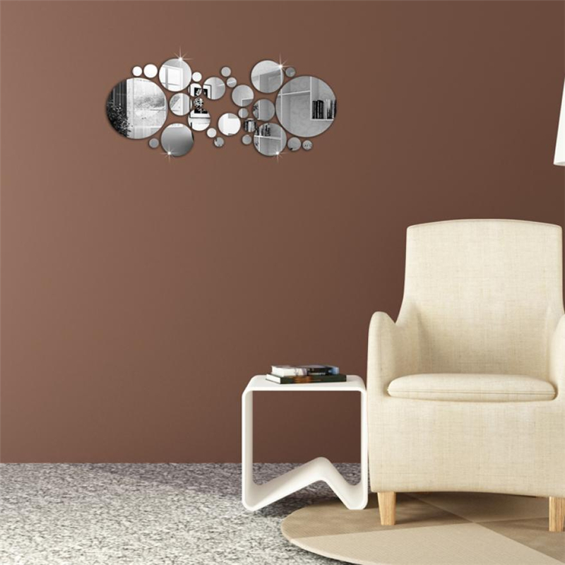Circle DIY Originality TV Wall Bedroom Parlor Decorative Mirror Wall Stickers Waterproof Resistant Home Decor HOT C0312#30