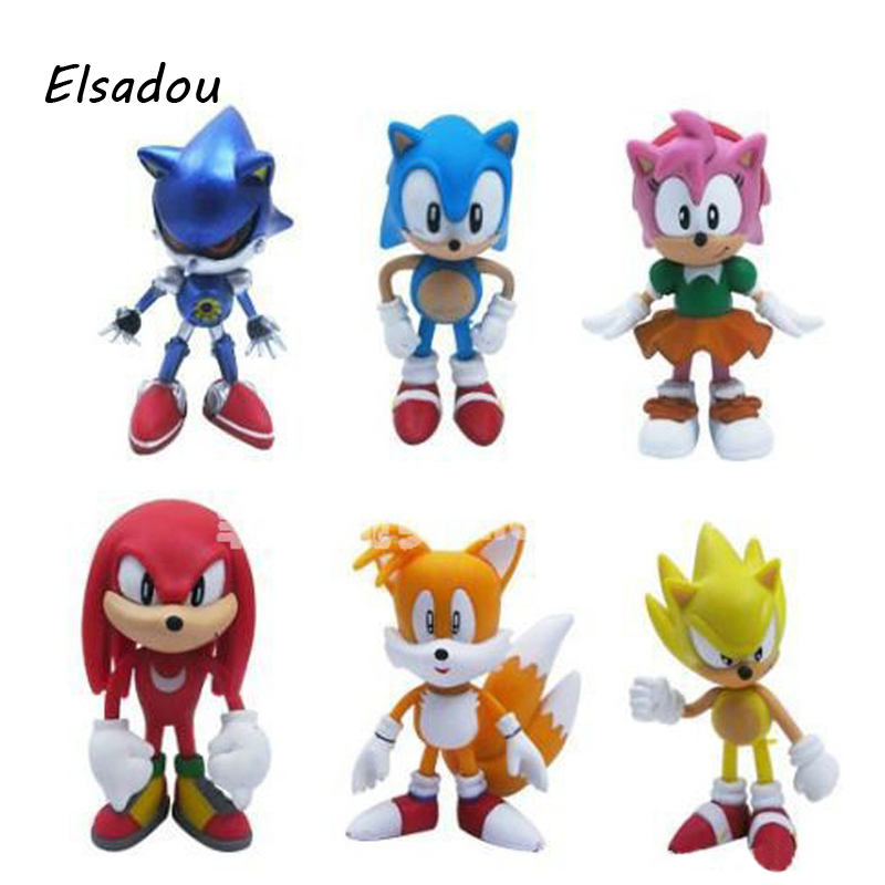 6pcs/set Japanese Game Sonic The Hedgehog Figure Toy Tails Amy Rose Knuckles the Echidna 7cm