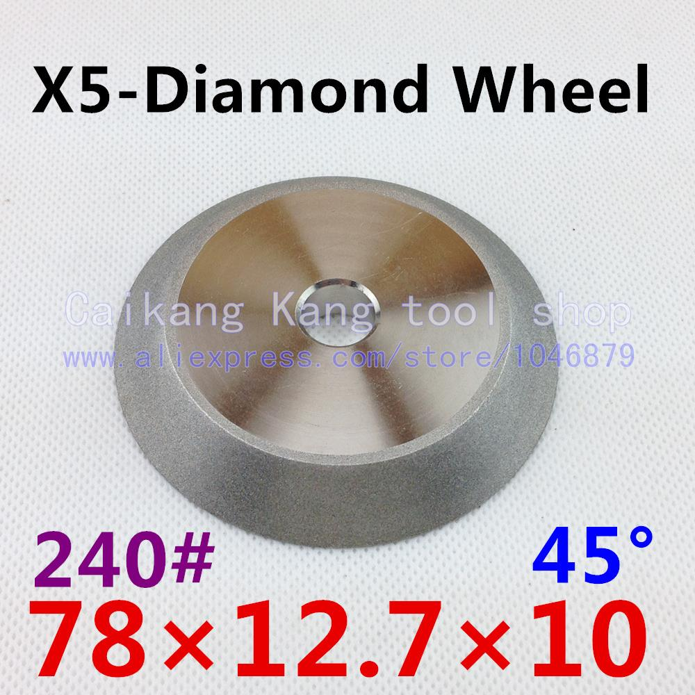 Diamond grinding wheel. X5 models cutter grinding machine wheel. 45 degree angle. Plating wheel. 78*12.7*10 grinding machine grinding wheel piece 100125150 202532