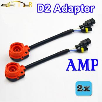 Darmowa wysyłka nowy 2 sztuk D2 D2C D2S D2R Adapter AMP gniazdka Conerter kabel ksenonowe przewód wiązki przewodów HID podstawa żarówki adapter akcesoria samochodowe tanie i dobre opinie Drut Miedziany BOPANDZ Cables Adapters Sockets metal rubber D2 adapter adapter for D2 D2C D2S D2R HID bulbs 0 15KG universal