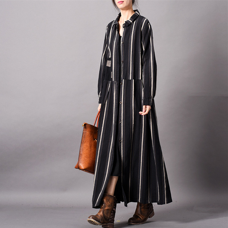 Johnature 2019 Spring New Turn-down Collar Long Sleeve Loose Long Cotton Linen Women   Trench   Striped Vintage Female Coats