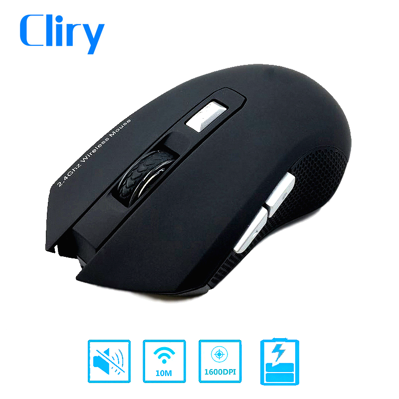 Cliry New Arrival 2.4G Charging Wireless 6D Mouse 1600DPI Slient Button Rechargeable Computer Gaming Wifi Mice With Charge Cable