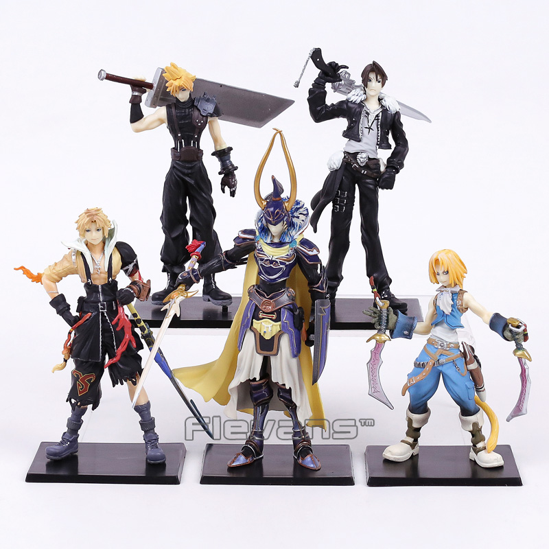 все цены на  Final Fantasy Cloud Strife Squall Leonhart Tidus Warrior of Light Zack Fair PVC Figures Collectible Model Toys 5pcs/set  в интернете